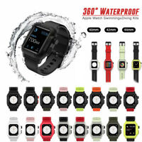 40/42/44mm Silicone Sport Band Strap+Waterproof Case for Apple Watch 6 5 4 3 SE
