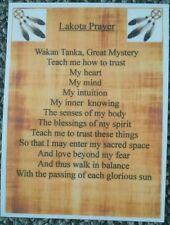 Native American Indian laminated A6 Lakota Prayer Saying Blessing