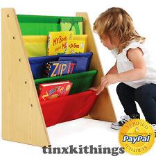Kids Book Storage Rack Bed Room Day Care Furniture Natural Primary Color Shelf