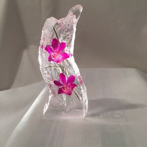 Hand made real orchids ornament paperweight