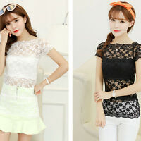 Women Semi Sheer Embroidery Floral Hollow Lace Crochet Tee Shirt Top Blouse
