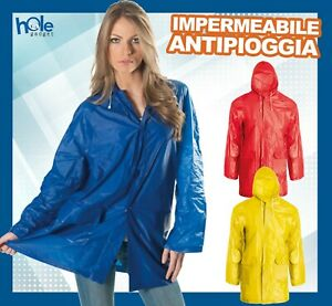 Impermeabile Pioggia Giacca Uomo Donna Moto Giacca a Vento in PVC Poncho