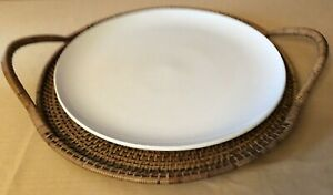Pampered Chef Woven Selections Wicker Serving Tray & Simple Additions Platter