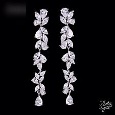 Cubic Zirconia Wedding Bridal Drop Dangle earrings New