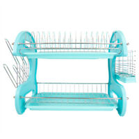 Home Basics 2-Tier Turquoise Kitchen Sink Dish Drainer Drying Rack