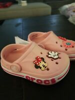 CROCS BAYABAND SANDALS SLIP ON PINK SLIDE CLOG SHOES KIDS Mickey  mouse NEW