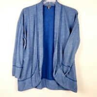 T by Talbots Womens XL Open Front Athleisure Jacket Cardigan Blue Pockets L/S