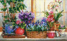 RIOLIS  1669  Fenêtre avec fleurs  Broderie  Point de croix compté