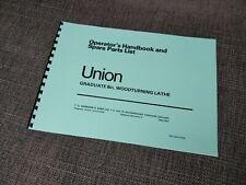 Union Graduate Harrison Wood Lathe Manual Handbook Spare Parts List Restoration