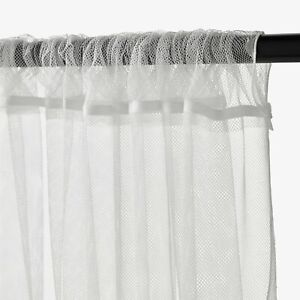 """IKEA LILL Curtains Sheer Net White 2 Panels 110x98"""" Canopy Room Divider"""