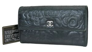 Auth CHANEL Black Camellia Lambskin Leather CC Long Wallet Coin Purse #40042