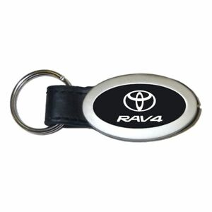 Toyota RAV4 Key Ring Black and Chrome Leather Oval Keychain