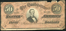 1864 $50 FIFTY DOLLARS CSA CONFEDERATE STATES OF AMERICA