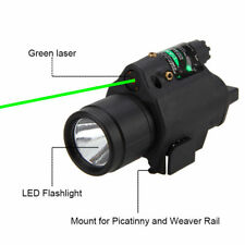 Tactical LED Flashlight Green Laser Sight Fit 20mm Picatinny Mount For Pistol