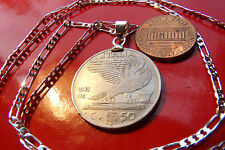 """1939-1941 Fascist Italy Eagle Coin Pendant on a 26"""" 925 Sterling Silver Chain"""