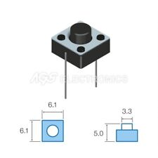 Tact Switchs Micropulsante verticale 6.1 x 6.1mm, altezza totale 5.0mm TSW-072