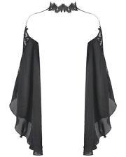 Dark In Love Gothic Bolero Shrug Top Black Chiffon Lace Collar Sleeves VTG Witch