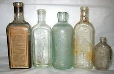 Lot 5x apothecary bottles Famo Tonsilene Perfectly Pure Schenley Quaker Caldwell