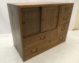 Antique Sugi Wood Tansu Chest Cupboard Japanese Drawers C1910s #282