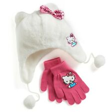 Hello Kitty NWT Girls Winter Hat Glove Set One Size 4 & UP Cat Ears Bow Soft