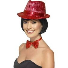 Women's Red Sequin Trilby Hat Fancy Dress Dance Gangster Hen Theme Party Fun Do