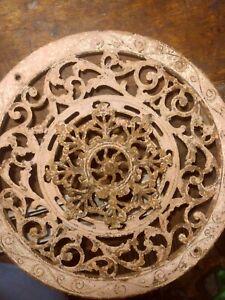 "15-1/2"" Round stove pipe collar Cast Iron 2-Piece Floor Grate Register  1890s"