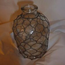 Farmhouse Style Chicken Wire Wrapped Glass Oil Bottle Vase Rustic