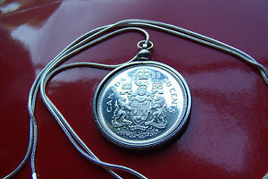 """Mint 1965 Canadian Fifty Cent Silver Coin pendant on a 30"""" Silver Snake Chain"""