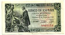 BILLETE DE 5 PESETAS DE 1945 (EBC) (SIN SERIE)