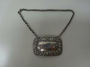 Antique Georgian Silver 1826 Whisky Decanter Label Full Hallmarks