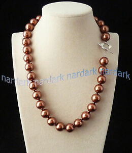 24'' Rare Huge 12mm Genuine Mix Color South Sea Shell Pearl Round Beads Necklace