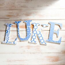 Blue Nursery Wall Letters baby boy, Christening Gift, Baby Shower, Custom Name