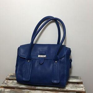 MARC FISHER Blue Faux Leather Double Zip Expandable Satchel Bag Purse