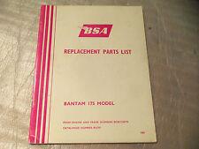 bsa  bantam 175     genuine original parts list catalogue