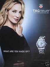 PUBLICITÉ PAPIER MONTRE TAGHEUER SWISS UMA THURMAN ET SON AQUARACER DIAMANTS
