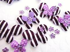 60 Purple Satin Stripes & Dots Butterfly Applique/Flower Bow Rhinestone Mix H339