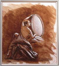 PIERRE LETELLIER ENCRE ET GOUACHE FEMME AU MIROIR 1995