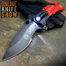 TAC FORCE RED TACTICAL FIRE FIGHTER Spring Assisted Open Pocket Knife LED LIGHT