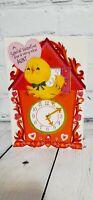 VTG Bird Greeting Card USA 50s 60s Anthropomorphic Bird Valentine's Ephemera Scr