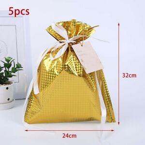5PCS Large Christmas Sacks Reusable Drawstring/Wrap Present Gift Party Bags