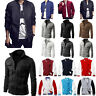 Men's Fashion Casual Bomber Jacket Warm Winter Baseball Coat Slim Zipper Outwear