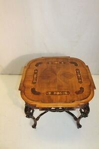 Gorgeous French Inlaid Marquetry Walnut Hand Carved Coffee Table, c.1930