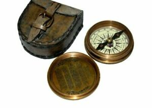 Nautical Brass Marine Pocket Compass With Leather Case
