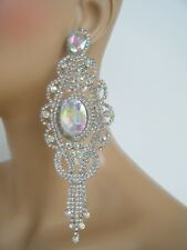 AB SILVER CHANDELIER  POST EARRINGS PAGEANT BRIDAL COSTUME STAGE DRAG QUEEN 5.5