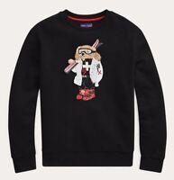 Ralph Lauren Purple Label Italy Black Polo Ski Bear Fleece Sweatshirt Sweater