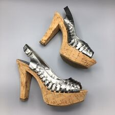 NIB Guess By Marciano Size 8 Pewter Silver Cork Heels Platforms Slingbacks