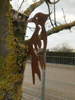 Edelrost Specht Dekoration Garten Figur Frühjahr Sommer Herbst Made in Franken