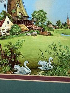 Windmill, Swans, Ship, Rural Landscape Vintage Royal Mosa Holland Ter Steege