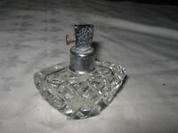 A Vintage Waffle Patterned Cut Glass Perfume Bottle Atomiser Sprayer