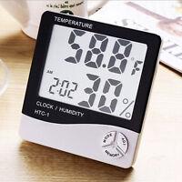 Digital LCD Luftfeuchte Hygrometer Thermometer Temperatur- Messgerät Uhr Gift